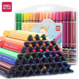 得力(deli)48色可水洗水彩笔 易握粗三角 学生儿童涂色颜色马克笔画笔套装文具美术用品33986-48