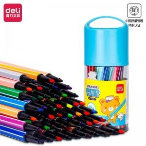 得力(deli)48色桶装六角杆可水洗学生水彩笔/绘画彩笔 儿童涂鸦笔 蓝色70725