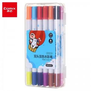 齐心(Comix) 双头双色文具水彩笔可水洗创作画笔水彩绘画笔 12支24色 QFCP01-24