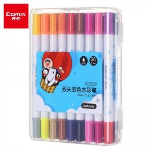 齐心(Comix) 双头双色文具水彩笔可水洗创作画笔水彩绘画笔 18支36色 QFCP01-36