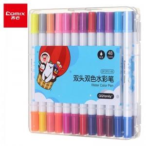 齐心(Comix) 双头双色文具水彩笔可水洗创作画笔水彩绘画笔 24支48色 QFCP01-48