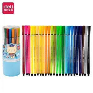得力(deli)24色可洗水彩笔 彩色绘画涂色颜色玩具 儿童画画 文具美术画材学习用品 24色收纳筒7067