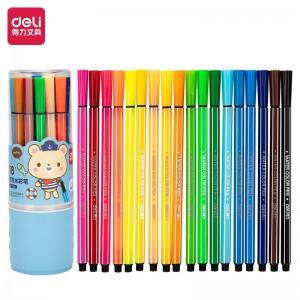 得力(deli)六角细杆水彩笔 儿童可水洗创作画笔 学生绘画彩虹筒 18色/筒 蓝7066