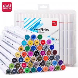 得力(deli)48色双头细杆马克笔套装 学生水彩笔双头绘画彩笔手绘漫画笔设计绘画记号笔 70700-48