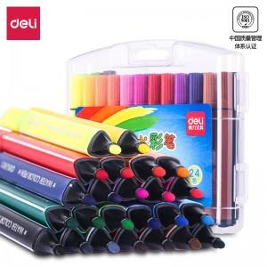 得力(deli)24色可水洗儿童水彩笔 画画易握住学生马克笔 彩色绘画涂色上色颜色美术玩具文具  收纳盒70658