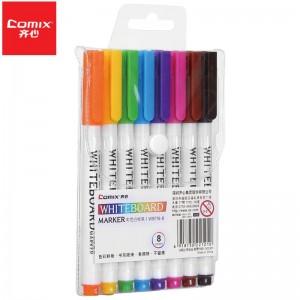 齐心(Comix)易擦可擦办公会议白板笔大容量易擦大头笔儿童涂鸦笔画板水性记号笔 多彩白板笔 WB716-8 彩色白板笔