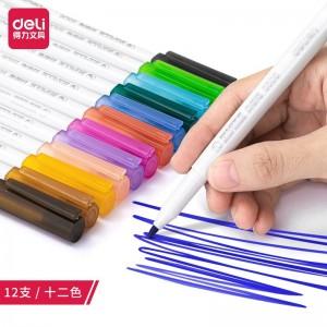 得力(deli)彩色白板笔套装 12色 便捷易擦 儿童涂鸦绘画 办公教学会议
