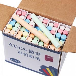 AUCS傲世 彩色粉笔儿童涂鸦笔绿板黑板报专用粉笔 60根