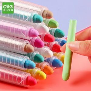 递乐 儿童水溶性无尘粉笔 6色/12色环保无尘粉笔 可擦写可水洗 彩色套装 6207(6色)