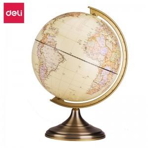 得力(deli)地球仪复古地球仪商务礼品双面刻度办公摆件金属底座办公用品 直径25cm 2178