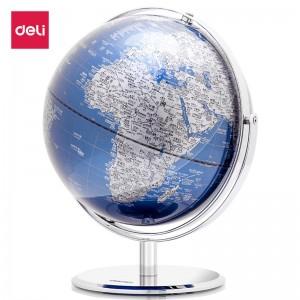 得力(deli)Ф25cm金属底座世界地球仪 商务礼品居家摆设 带放大镜 蓝色