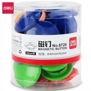 得力(deli) 彩色白板磁钉/吸铁石/磁铁φ40mm 24粒/筒白板配件8726