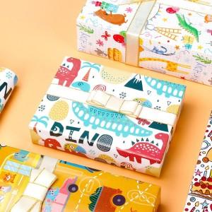 TaTanice 礼品包装纸 高档生日礼物DIY手工纸礼品盒打包纸包书纸 卡通包装纸6张+贴纸+丝带