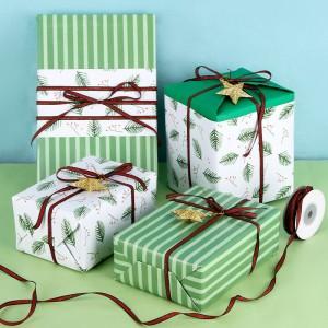 拜杰 礼盒包装纸 三八妇女节礼物高档两张装生日礼物打包纸清新绿叶礼盒打包纸送老婆 送丝带+小挂件