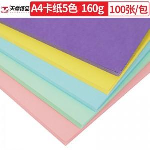天章(TANGO)A4彩色卡纸厚硬卡纸 儿童手工折纸彩纸 美术纸封面纸 五色混装160克 100张/包