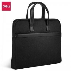 得力(deli)时尚办公公文包 商务男女职业文件袋事务包 涤纶手提资料袋电脑包 63751黑色