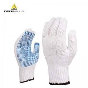 代尔塔 PVC点胶 涤棉 线手套 工作 劳保手套 防滑耐磨损抗撕裂 208006 白色/蓝色9# 1副