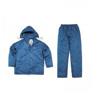 代尔塔(Deltaplus)407003 EN400雨衣雨裤分体式带帽 套装 防风防水防雪 户外定做工作服 藏青色 L