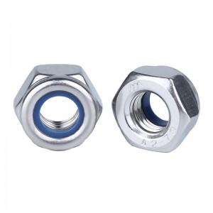 捷诺立(JNL) 55389 304不锈钢自锁防松螺母带尼龙胶圈防脱防滑锁紧六角螺帽 M8 (50只装)