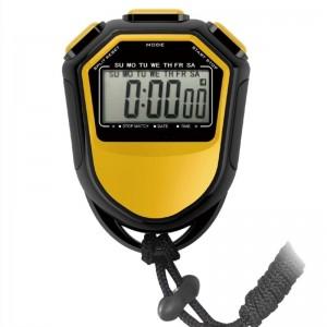 戈顿 秒表计时器电子定时器静音单排2道记忆学生闹钟跑步运动健身体育教师比赛田径训练游泳多功能大屏幕黄色