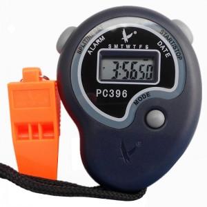 天福秒表计时器 多功能跑步电子秒表 体育运动田径训练比赛专业跑表学生教练 单排2道 送口哨电池PC396
