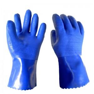 耐油手套防护防滑PVC安全机械防油耐磨666手套加厚工业 蓝色 M