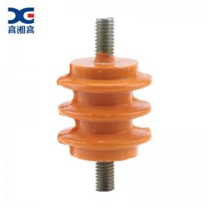 高湘高 低压绝缘子配电柜零排地排支柱用黄色绝缘子两头螺杆 40*40-M8
