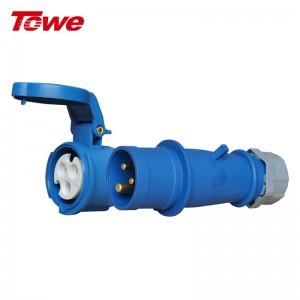 TOWE同为IP44防水16A工业连接器工业插座机房PDU航空插头3芯2P+E公头母头套装工业耦合器 IPS-PS316