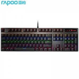 雷柏(Rapoo) V500PRO 机械键盘 有线键盘 游戏键盘 104键混光键盘 吃鸡键盘 电脑键盘 黑色 黑轴