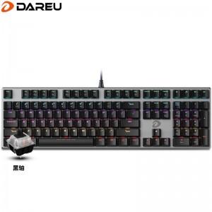 达尔优(dareu)机械师合金版机械键盘 有线键盘 游戏键盘 108键混光  全键无冲 吃鸡键盘  黑银黑轴