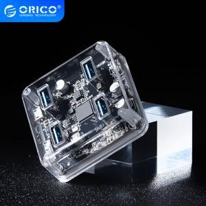 奥睿科(ORICO)USB分线器3.0 4口HUB扩展转换器 笔记本电脑一拖四集线器延长线带电源接口 全透明 0.3米MH4U