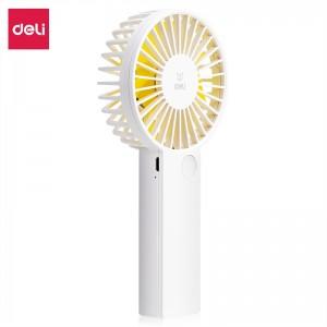 得力(deli)USB小电风扇 迷你便携式手持小风扇可 充电带挂绳  三挡风速 白色85801
