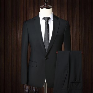 凯撒 西装套装男 商务正装免烫抗皱职业装西服套装休闲西装男修身 黑色一粒扣 185