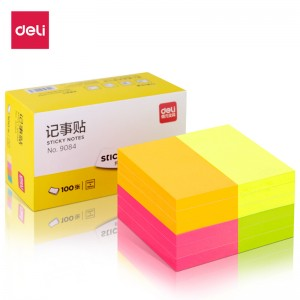 得力(deli)12本1200张荧光彩色便利贴  76*51mm便条纸N次贴记事贴办公用品 9084