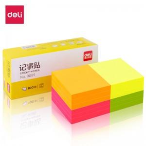 得力(deli)12本1200张荧光彩色便利贴  76*76mm便条纸N次贴记事贴办公用品 9085