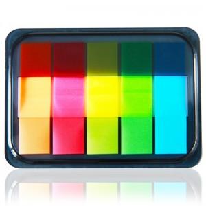 得力(deli)100张5色荧光膜指示标签贴  44*12mm抽取式便利贴便签条记事贴9060