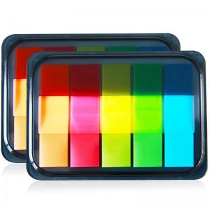 得力(deli)2个200张5色荧光膜指示标签贴  44*12mm抽取式便利贴便签条记事贴9069
