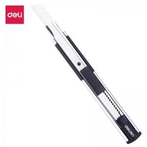 得力(deli)锌合金自锁功能安全美工刀 软包胶舒适手感 银色2072