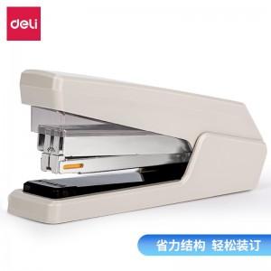 得力(deli)平钉省力型订书机  专利平钉结构平钉包角 灰色0433