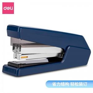 得力(deli)平钉省力型订书机  专利平钉结构平钉包角 蓝色0433
