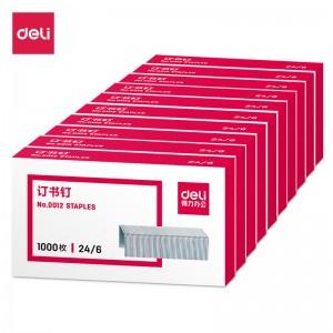 得力(deli)高强度订书钉 12#订书针 1000枚/盒 10盒装 办公用品 0012