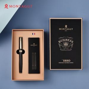 法国梦特娇(MONTAGUT)签字笔商务宝珠笔礼盒装黑色替换笔芯书写签名笔免费私人定制 礼遇系列