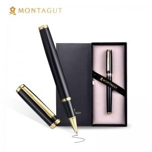 法国梦特娇(MONTAGUT)签字笔商务宝珠笔礼盒装书写签名笔 礼遇系列 黑色金夹0.5mm