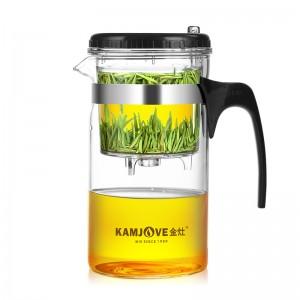 金灶(KAMJOVE) TP-200大容量玻璃杯 玻璃泡茶壶 按压式茶壶 飘逸杯花茶壶泡茶杯耐热玻璃水壶1000ml