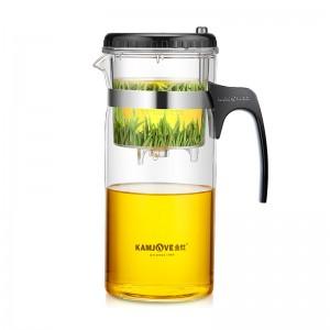 金灶(KAMJOVE) 1200ML大容量茶壶茶具 耐热玻璃按压式飘逸杯冲泡器 花茶过滤壶绿茶杯TP-300